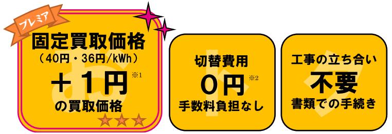 固定買取価格+1円買取、費用0円、工事立会い不要